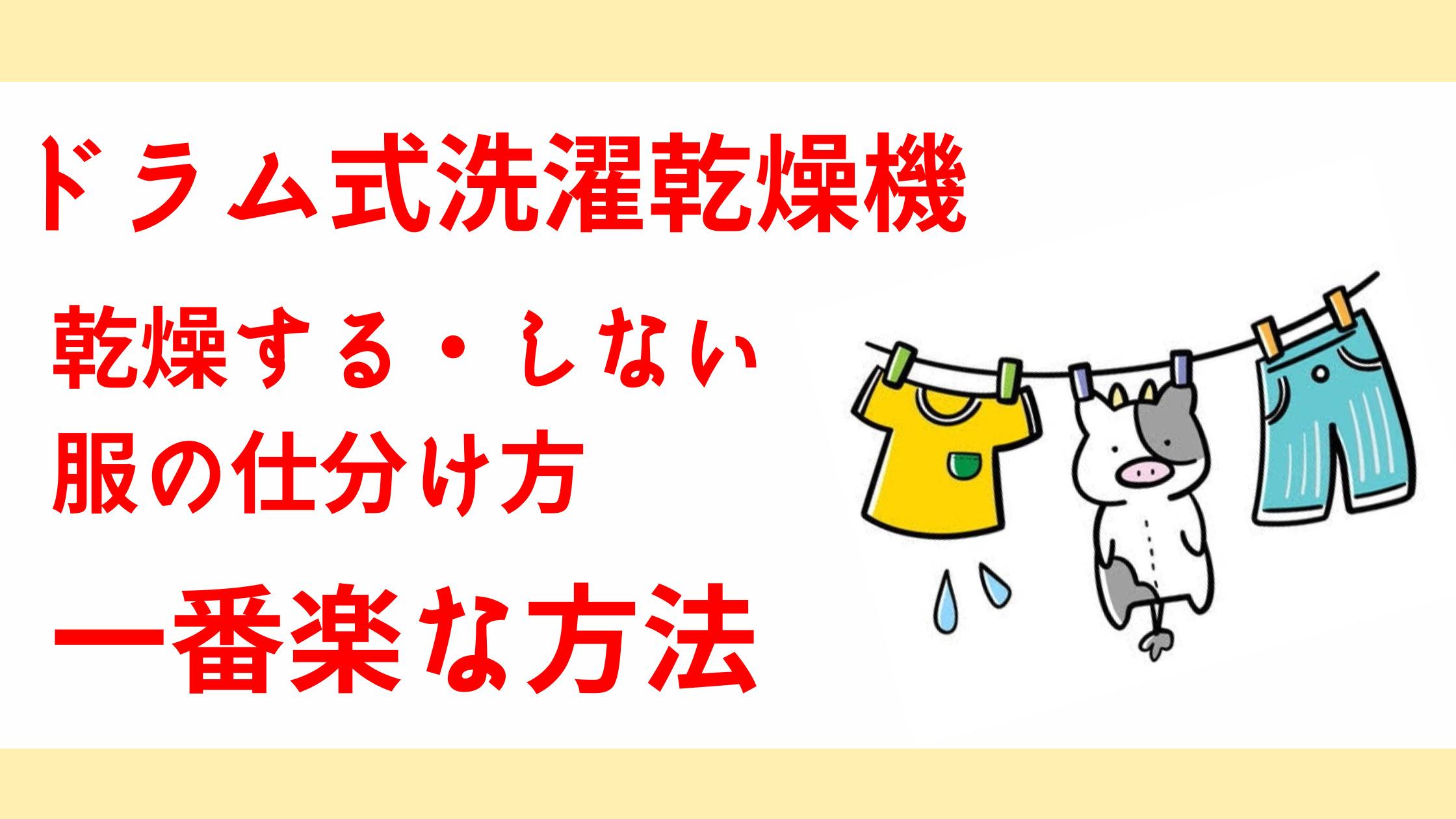 ドラム式洗濯乾燥機乾燥するしない衣服仕分け方一番簡単な方法